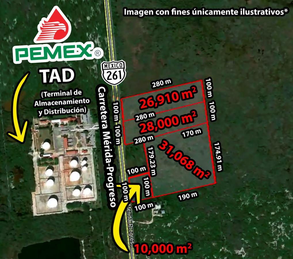 Foto Terreno en Venta en  Progreso de Castro Centro,  Progreso  Terrenos De 1 a 9.5 Hectáreas en Carretera Mérida-Progreso