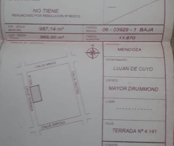 Foto Terreno en Venta en  Mayor Drummond,  Lujan De Cuyo  Terrada N° 4100, (a metros de Araoz)
