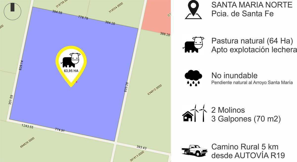 Foto Campo en Venta en  Santa Maria,  Las Colonias  Campo de 64 Ha en Santa Maria Norte a 5km Autovia R11
