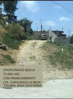 Foto Terreno en Venta en  La Mesa,  Tijuana  Terreno en venta 802m2 Tijuana $75,000 USD Col. Chihuahua la mesa