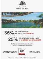 Foto Terreno en Venta en  Lagos del Sol,  Cancún  Terreno en venta en Cancún Lagos Del Sol. Manzana Puerto Rico con Vista al Lago  1090 m2