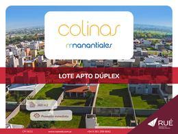 Foto Terreno en Venta en  Colinas de Manantiales,  Cordoba Capital  Lote en venta en Colinas de Manantiales. 360 m2. Apto dúplex. Frente a espacio verde.