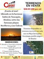 Foto Terreno en Venta en  Pueblo Teacapan,  Escuinapa  TERRENOS FRENTE AL MAR. DESDE 5,000 M2. LAS LUPITAS, TEACAPAN.