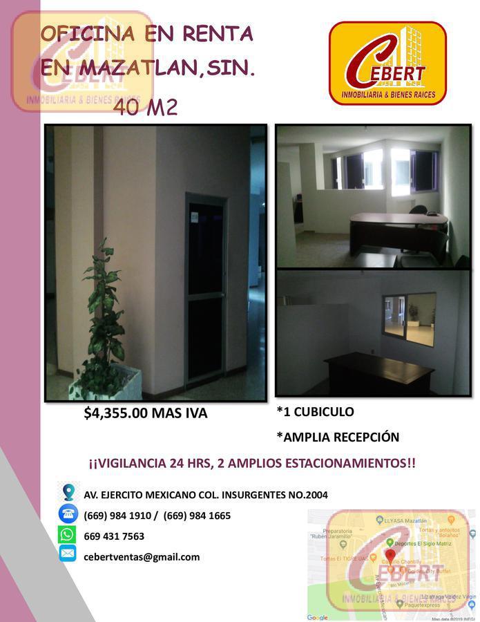 Foto Oficina en Renta en  Mazatlán ,  Sinaloa  MAGNIFICA OFICINA DE 40 M2 EN RENTA EN MAZATLAN, SIN. ¡EXCELENTE UBICACIÓN!