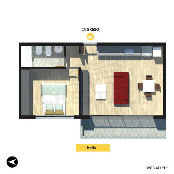 Venta departamento 1 dormitorio Rosario, zona Centro. Cod 2127. Crestale Propiedades
