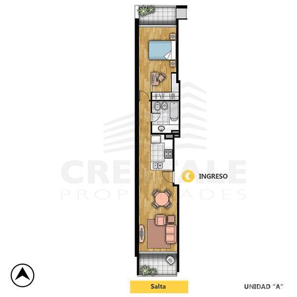 Venta departamento 1 dormitorio Rosario, zona Parque España. Cod CAP1048618. Crestale Propiedades