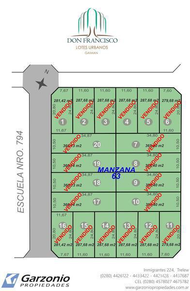 Foto Terreno en Venta en  Gaiman,  Gaiman  Don Francisco - Lotes Urbanos - Gaiman - 100 cuotas desde USD 260 cada una, sin entrega inicial