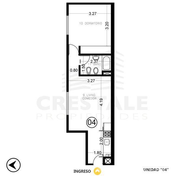 Venta departamento 1 dormitorio Rosario, zona Centro. Cod CBU9708 AP718587. Crestale Propiedades