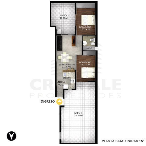 Venta departamento 2 dormitorios Rosario, zona Centro. Cod 3885. Crestale Propiedades