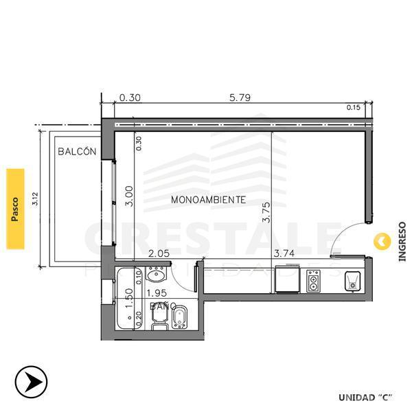 Venta departamento monoambiente Rosario, zona Centro. Cod CBU10014 AP744666. Crestale Propiedades