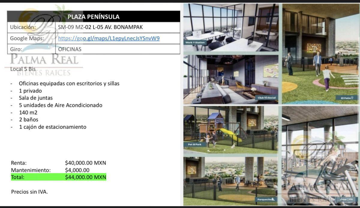 Foto Oficina en Renta en  Benito Juárez ,  Quintana Roo  OFICINA EN RENTA PLAZA PENINSULA
