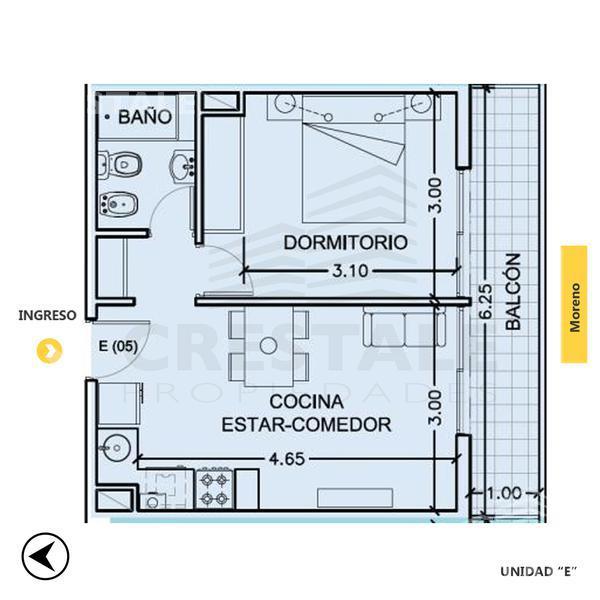 Venta departamento 1 dormitorio Granadero Baigorria, zona Granadero Baigorria. Cod CBU8057 AP637171. Crestale Propiedades