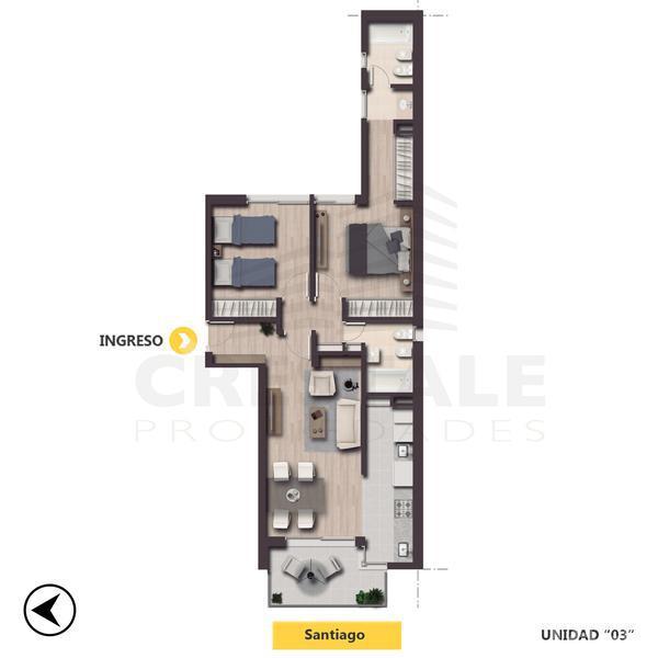Venta departamento 2 dormitorios Rosario, zona Macrocentro. Cod CBU7878 AP1046622. Crestale Propiedades