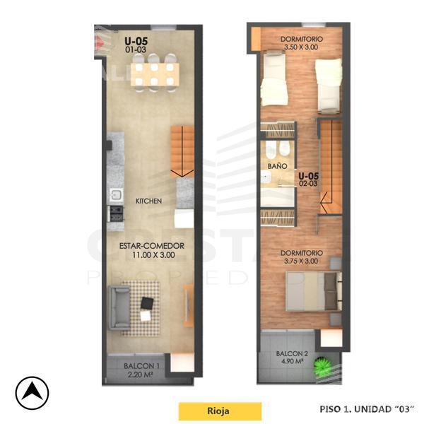 Venta departamento 2 dormitorios Rosario, zona Echesortu. Cod CBU10550 AP1037997. Crestale Propiedades
