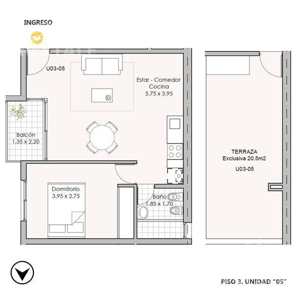 Venta departamento 1 dormitorio Rosario. Cod CBU7811 AP1292027. Crestale Propiedades