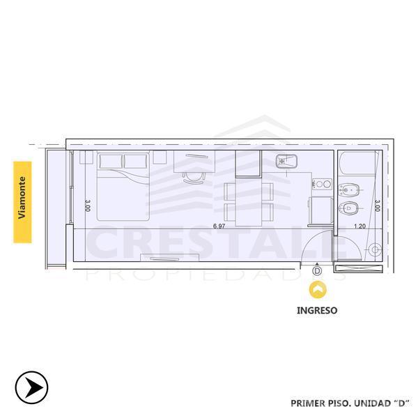 Venta departamento monoambiente Rosario, zona Barrio La Siberia. Cod CBU10574 AP1044249. Crestale Propiedades