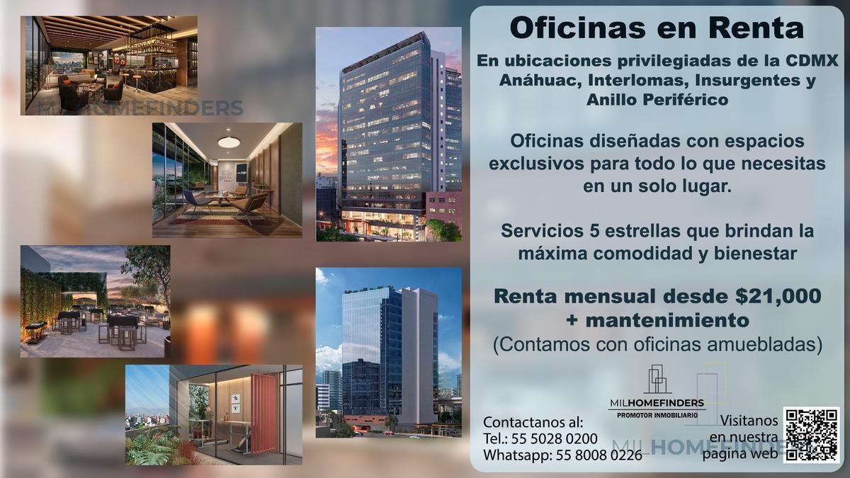 Foto Oficina en Renta en  Cuauhtemoc ,  Ciudad de Mexico  RENTA MAGNIFICA OFICINAS  INSURGENTES CON EXCLUSIVOS ESPACIOS Y SERVICIOS 5 ESTRELLAS
