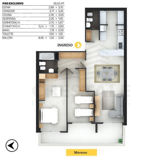 Venta departamento 2 dormitorios Rosario, zona Parque España. Cod CBU10004 AP744053. Crestale Propiedades