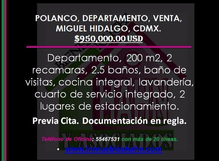 Foto Departamento en Venta en  Polanco III Sección,  Miguel Hidalgo  POLANCO, DEPARTAMENTO, VENTA, MIGUEL HIDALGO, CDMX.