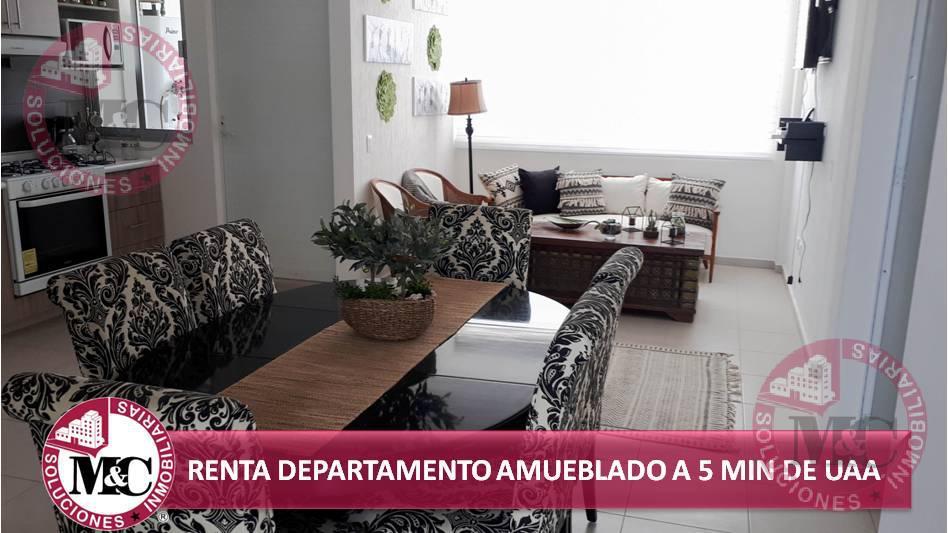 Foto Departamento en Renta en  San Ignacio,  Aguascalientes  MC RENTA DEPARTAMENTO AMUEBLADO A 5 MIN DE UAA