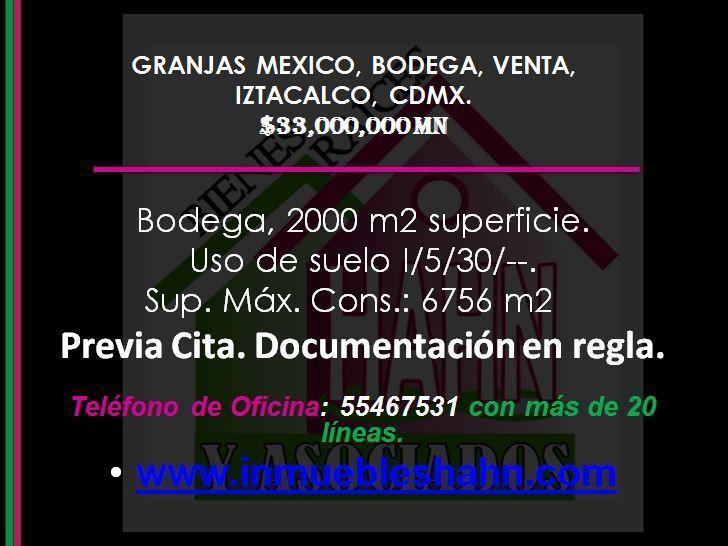 Foto Bodega Industrial en Venta en  Granjas México,  Iztacalco  GRANJAS MEXICO, BODEGA, VENTA, IZTACALCO, CDMX.