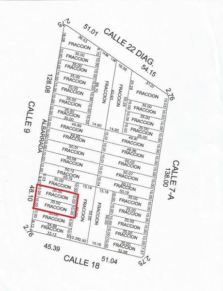 calle 9 no. 95 por 18 y 22, diagonal. cholul