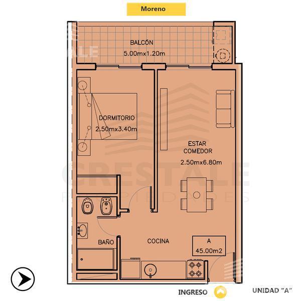 Venta departamento 1 dormitorio Rosario, zona Centro. Cod 4584. Crestale Propiedades