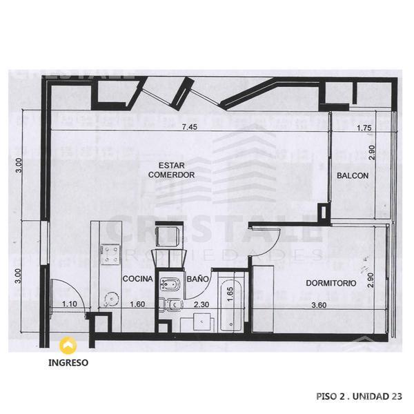 Venta departamento 1 dormitorio Rosario, zona Puerto Norte. Cod 1794. Crestale Propiedades