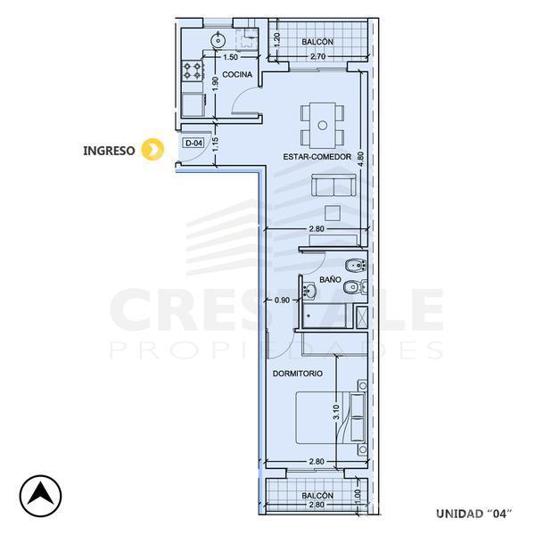 Venta departamento 1 dormitorio Rosario, zona Centro. Cod CBU10359 AP763230. Crestale Propiedades