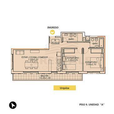 Venta departamento 2 dormitorios Rosario. Cod CBU7687 AP1047096. Crestale Propiedades