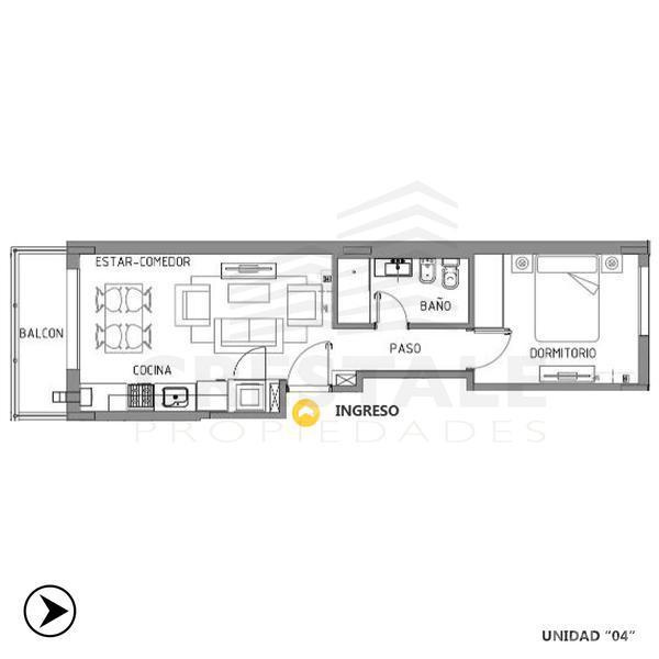 Venta departamento 1 dormitorio Rosario, zona Centro. Cod CBU8496 AP667255. Crestale Propiedades
