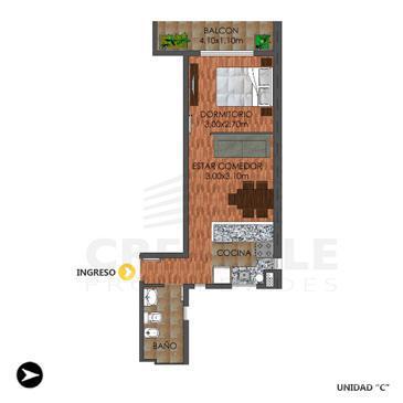 Venta departamento 1 dormitorio Rosario, zona Centro. Cod 2106. Crestale Propiedades