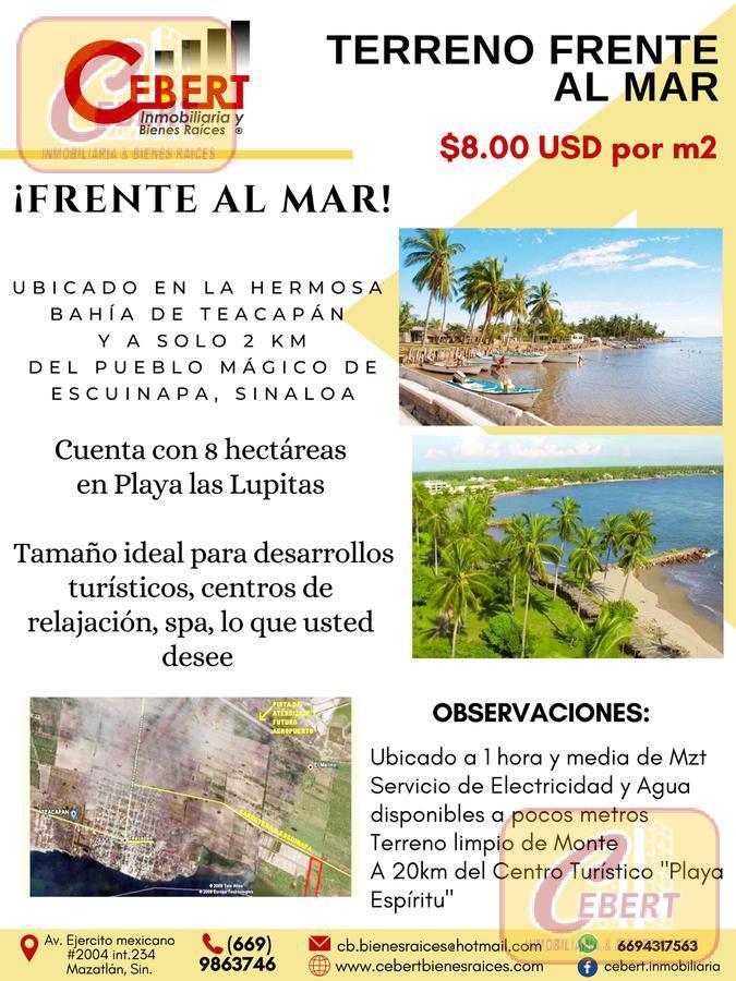 Foto Terreno en Venta en  Pueblo Teacapan,  Escuinapa  TERRENO DE 8 HECTÁREAS EN EL ESTERO DE TEACAPAN