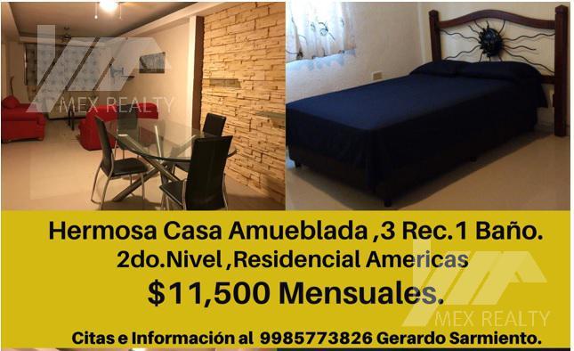 Foto Casa en Renta en  Benito Juárez ,  Quintana Roo  RENTA DE CASA AMUEBLADA RESIDENCIAL AMERICAS, 2DO NIVEL, CANCUN, Q. ROO