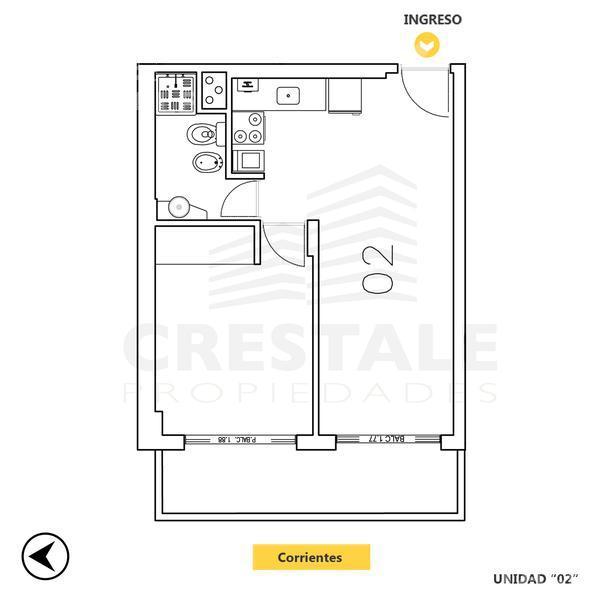 Venta departamento 1 dormitorio Rosario, zona Centro. Cod CAP724722. Crestale Propiedades