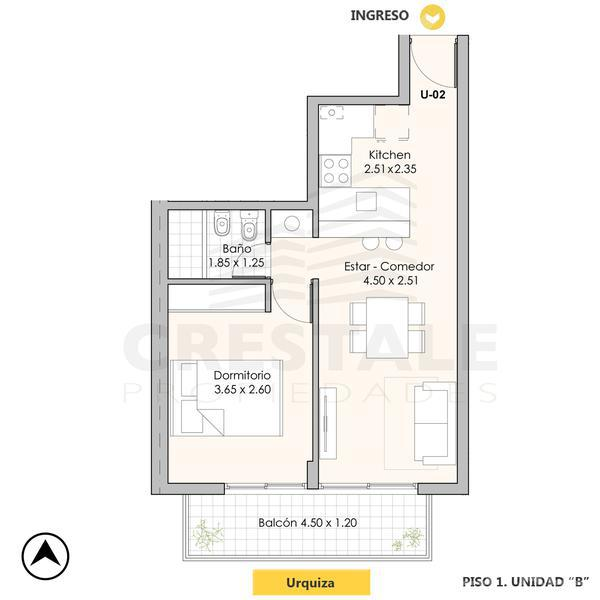 Venta departamento 1 dormitorio Rosario, zona Echesortu. Cod CAP1047466. Crestale Propiedades