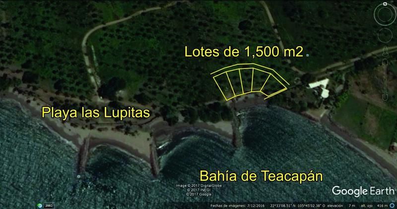 """Foto Terreno en Venta en  Pueblo Teacapan,  Escuinapa  TERRENOS FRENTE AL MAR. 1500 M2 """"PLAYA LAS LUPITAS"""" TEACAPAN. DESDE $1,200.00 pesos M2"""