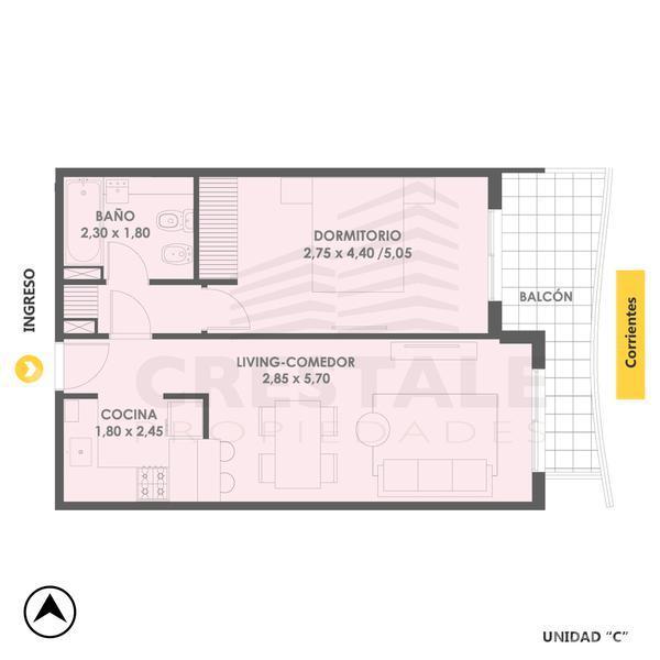 Venta departamento 1 dormitorio Rosario, zona Centro. Cod 4815. Crestale Propiedades