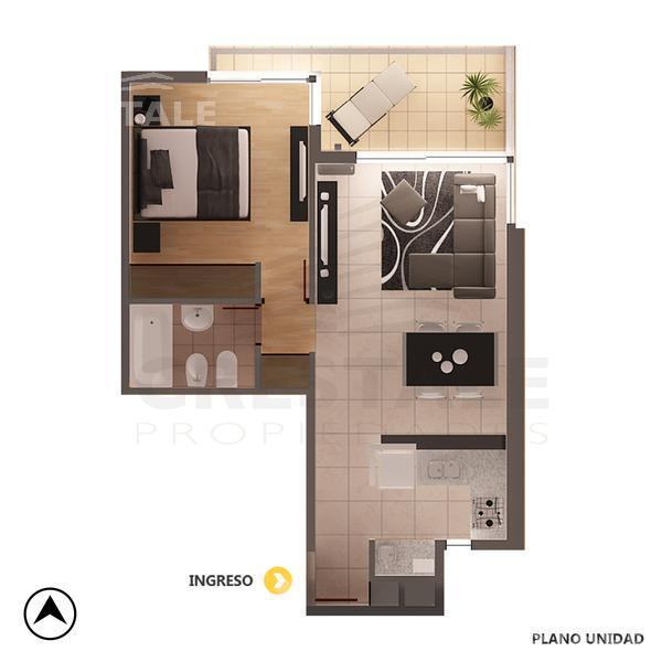 Venta departamento 1 dormitorio Rosario, zona Norte. Cod CBU9675 AP1139061. Crestale Propiedades