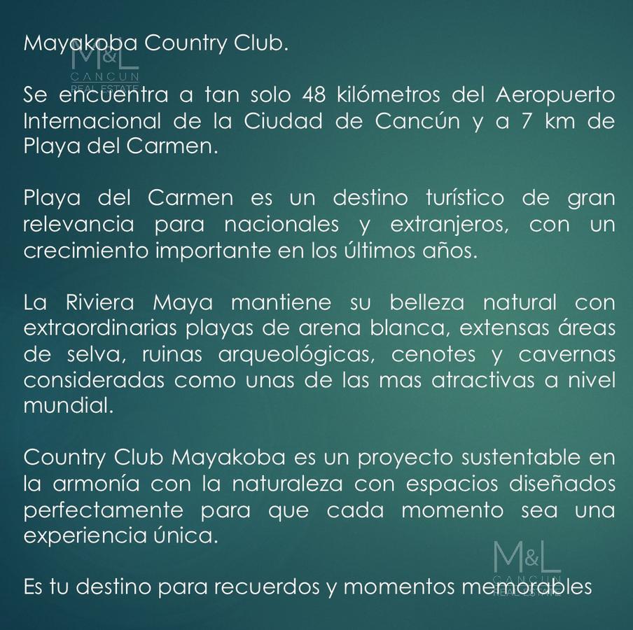 Foto Terreno en Venta en  Playa del Carmen,  Solidaridad  Terreno en Venta en Playa Del Carmen MAYAKOBA COUNTRY CLUB. Lote Condominal Vertical 2986 m2