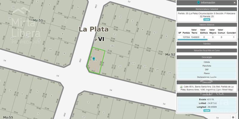 Foto Terreno en Venta en  City Bell,  La Plata  461 C esquina 17