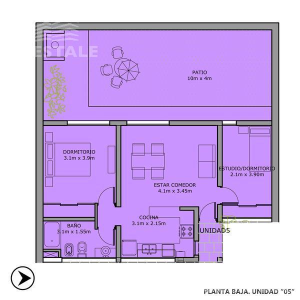 Venta departamento 2 dormitorios Funes, zona Centro. Cod CBU8476 AP665427. Crestale Propiedades