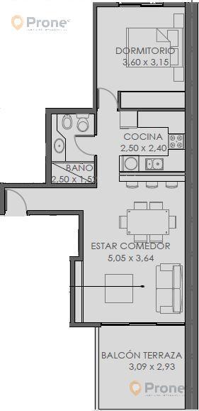 Foto Departamento en Venta en  Echesortu,  Rosario    San Luis 3167 01-02 1 Dormitorio con Balcón terraza. 62m2