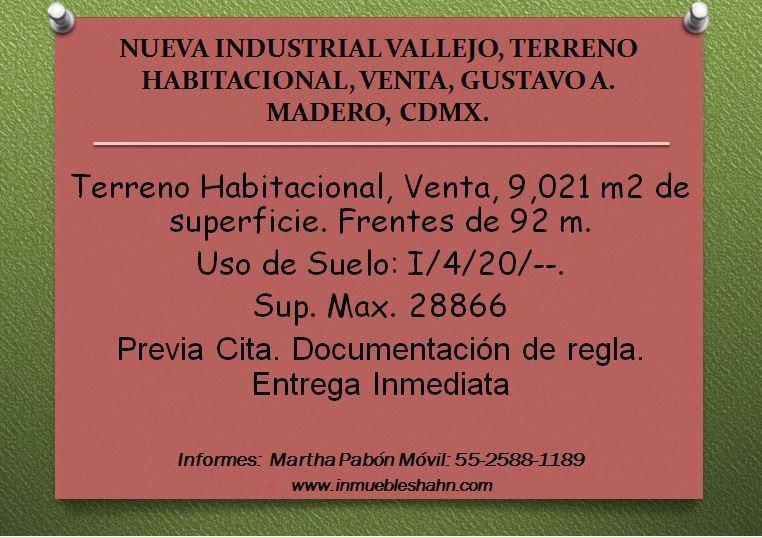 Foto Nave Industrial en Venta en  Nueva Industrial Vallejo,  Gustavo A. Madero  NUEVA INDUSTRIAL, TERRENO HABITACIONAL, VENTA, GUSTAVO A MADERO, CDMX.