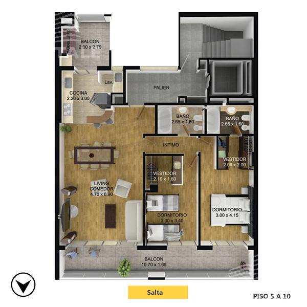 Venta departamento 2 dormitorios Rosario, zona Centro. Cod CBU10981 AP1076602. Crestale Propiedades
