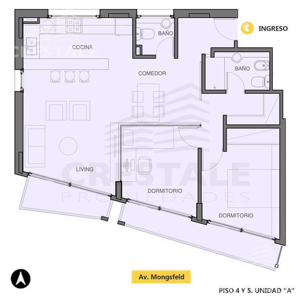 Venta departamento 2 dormitorios Rosario, zona Refinerias. Cod 2975. Crestale Propiedades