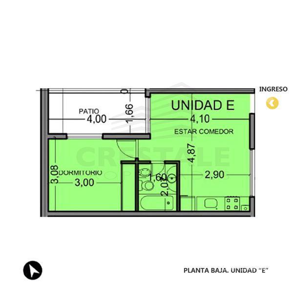 Venta departamento de pasillo 1 dormitorio Rosario, zona Centro Oeste. Cod CBU8196 PH1122848. Crestale Propiedades