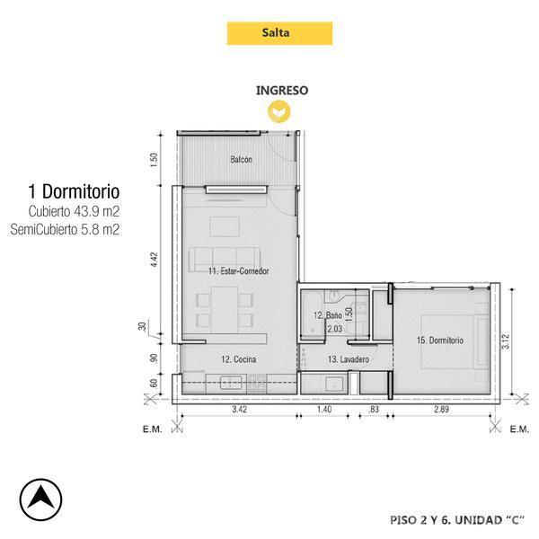 Venta departamento 1 dormitorio Rosario, zona Pichincha. Cod CBU13348 AP1280731. Crestale Propiedades