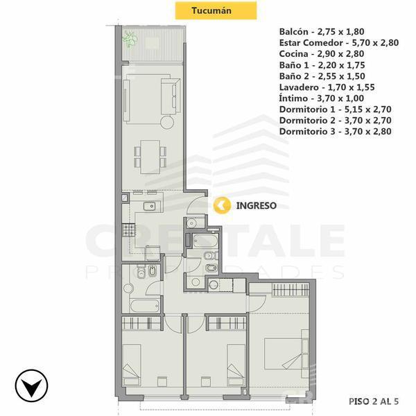 Venta departamento 3+ dormitorios Rosario, zona Centro. Cod 3513. Crestale Propiedades