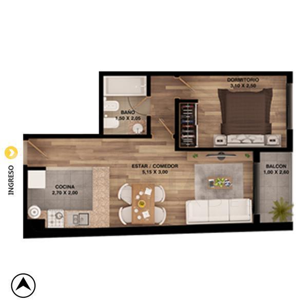 Venta departamento 1 dormitorio Rosario, zona Centro. Cod 4469. Crestale Propiedades